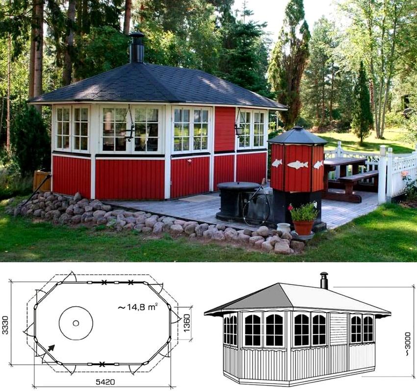 Проект отдельностоящей летней кухни размером 3,33х5,42 м