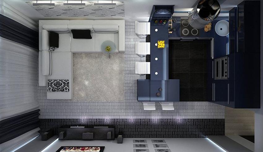 Совмещение кухни с гостиной и столовой позволит получить больше пространства