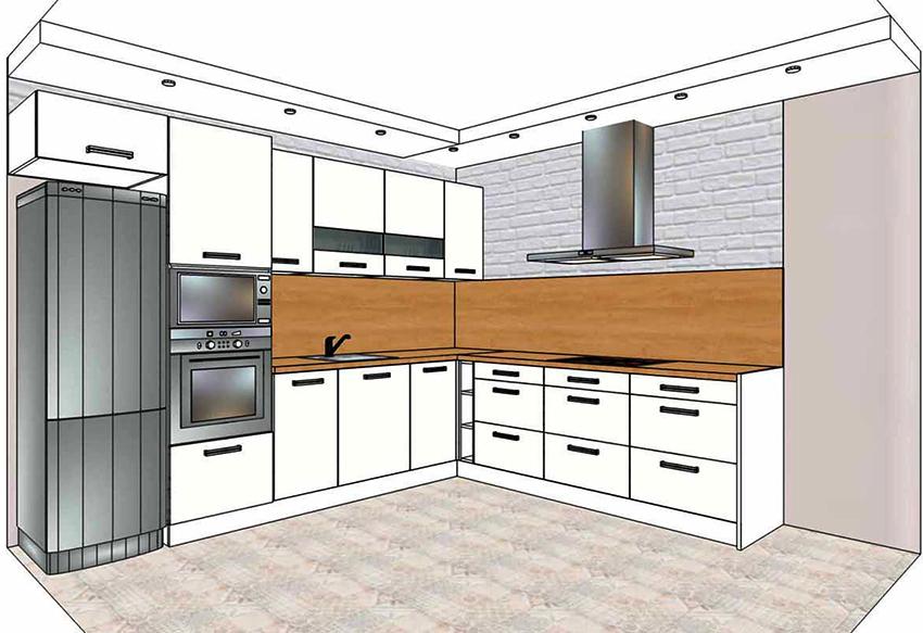 Кухня Г-образной планировки подходит для помещений среднего размера