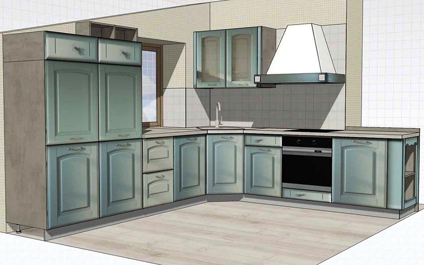 Создавать чертеж кухни рекомендуется в масштабе 1:10 или 1:20