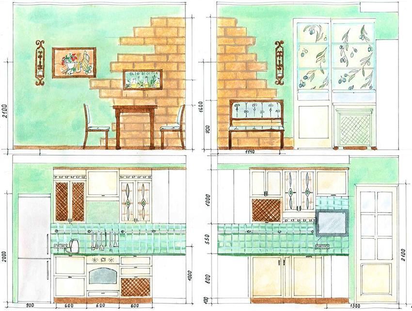 На развертке стен удобно указывать размещение кухонной мебели