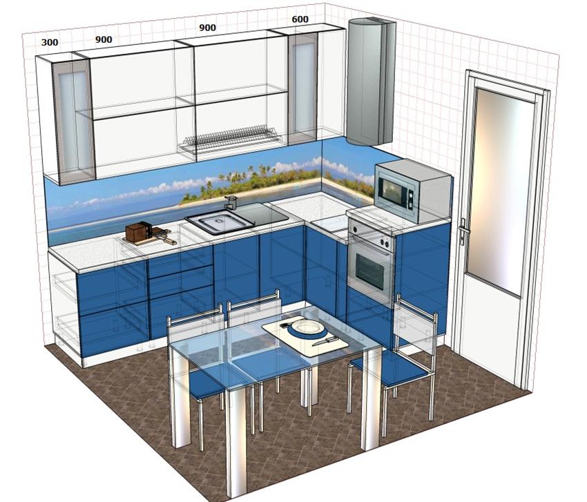 На эскизе кухни можно указывать стандартные размеры мебели и техники