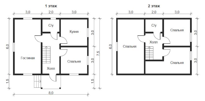 Проект двухэтажного дома с четырьмя спальнями