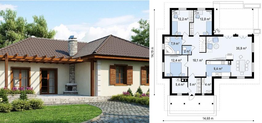 Проект одноэтажного дома 15х15 м