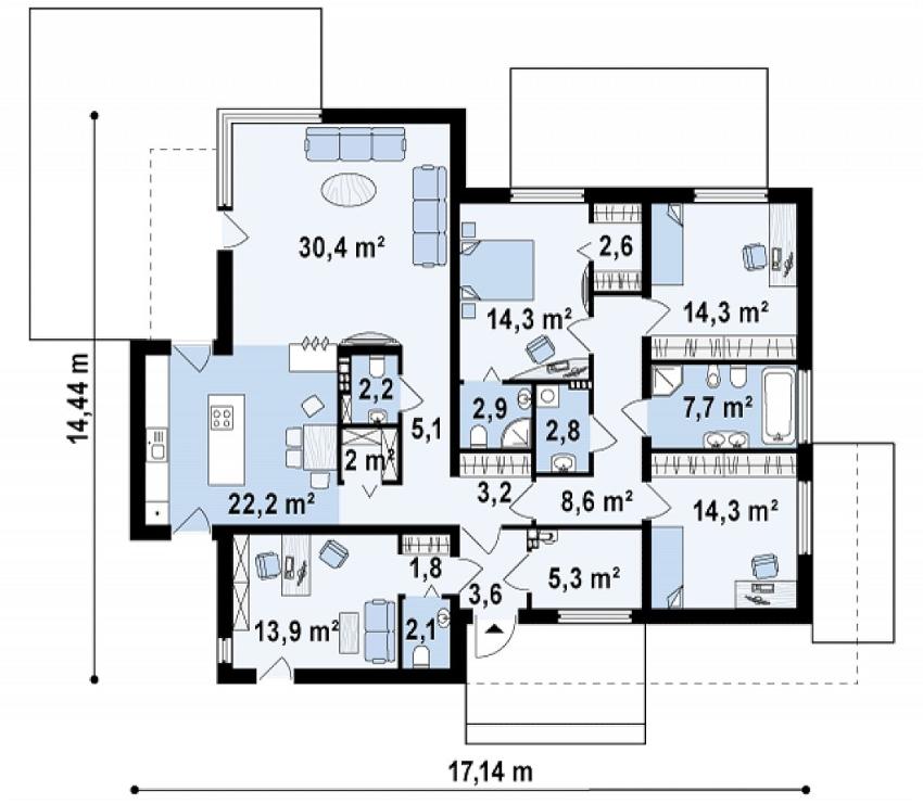 Проект одноэтажного дома 14х17 м