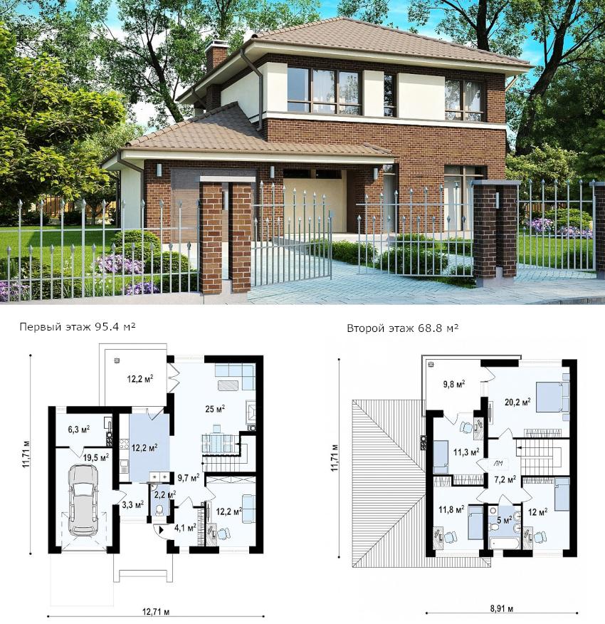 Проект двухэтажного дома общей площадью 165 м²