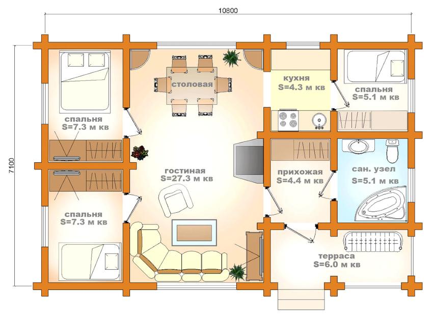 Проект одноэтажного дома площадью 81 м²