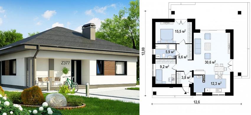 Проект одноэтажного дома 12x12 м