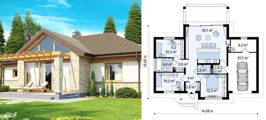 Проект одноэтажного дома 10х15 м