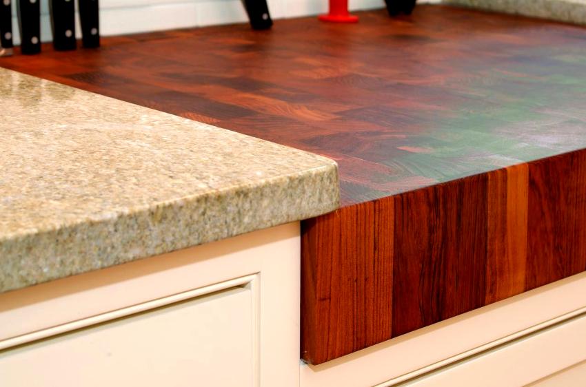 Столешницы, изготовленные из разных материалов, характеризуются и различной толщиной