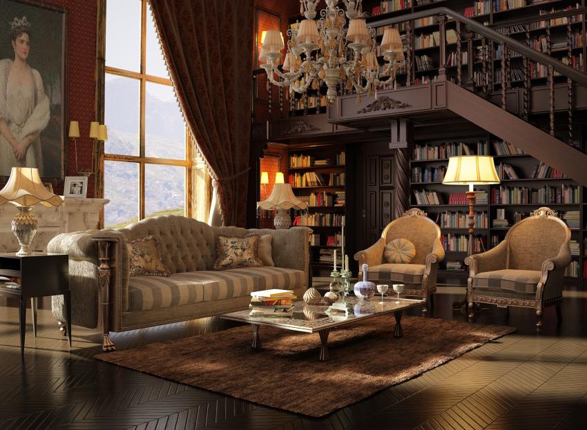 Интерьер гостиной, оформленной бархатными шторами, приобретет сдержанное богатое убранство