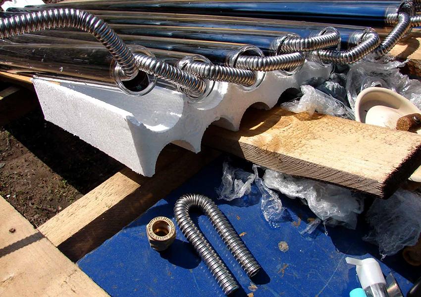 В качестве абсорбера для воздушного коллектора можно использовать водопроводные трубы