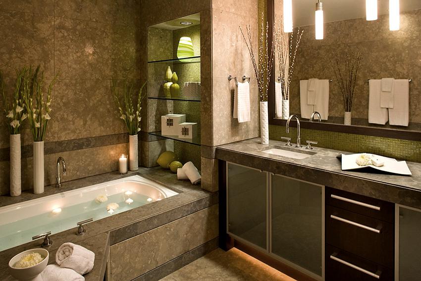 Стеклянные полки не боятся повышенной влажности, поэтому они являются лучшим решением для ванной комнаты