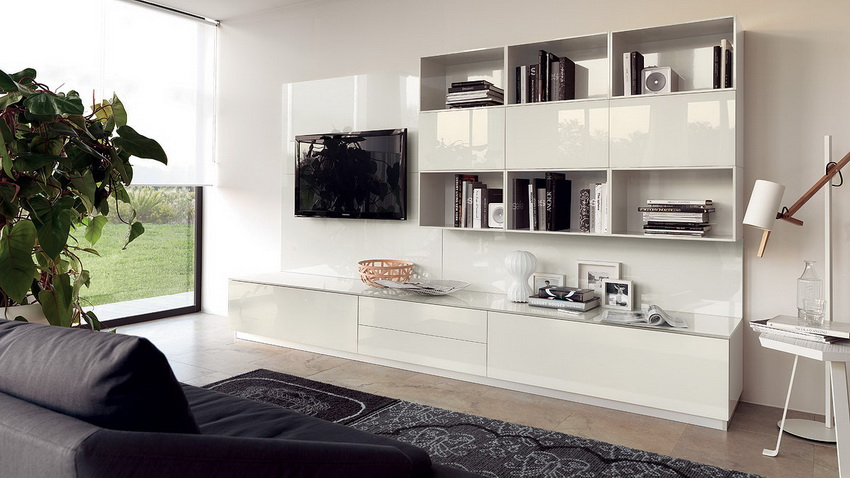 Модульные стенки в гостиную подходят для помещений любых размеров