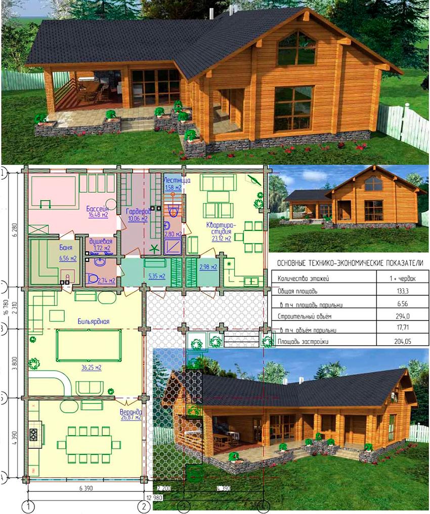 Проект одноэтажного дома в стиле шале площадью 204,05 м²