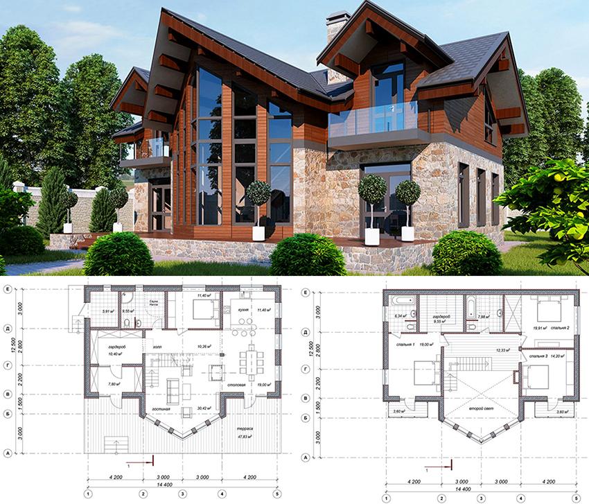 Проект загородного двухэтажного дома в стиле шале