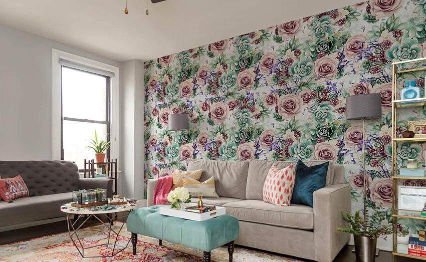 Стены в интерьере шебби шик можно обклеить обоями, покрасить или покрыть штукатуркой
