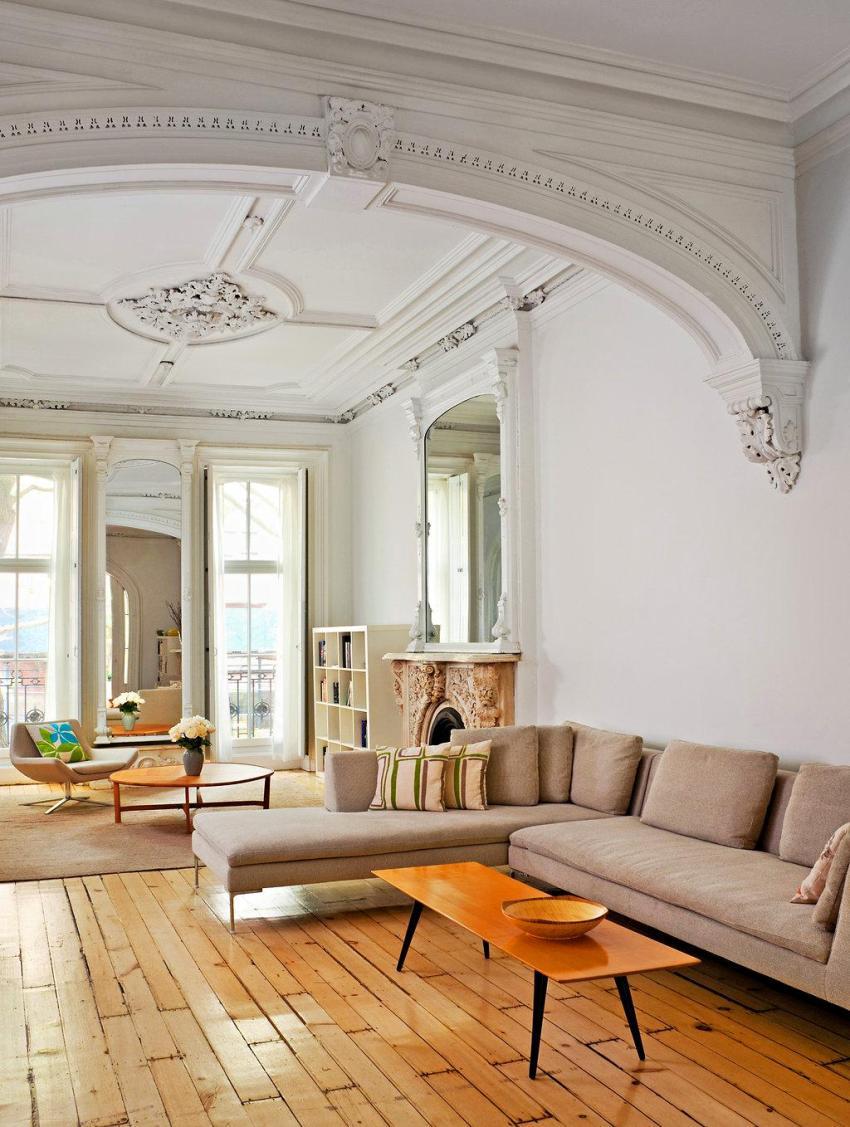 Стиль модерн в интерьере предполагает переход от прямых выверенных линий к природным, плавным и изогнутым формам