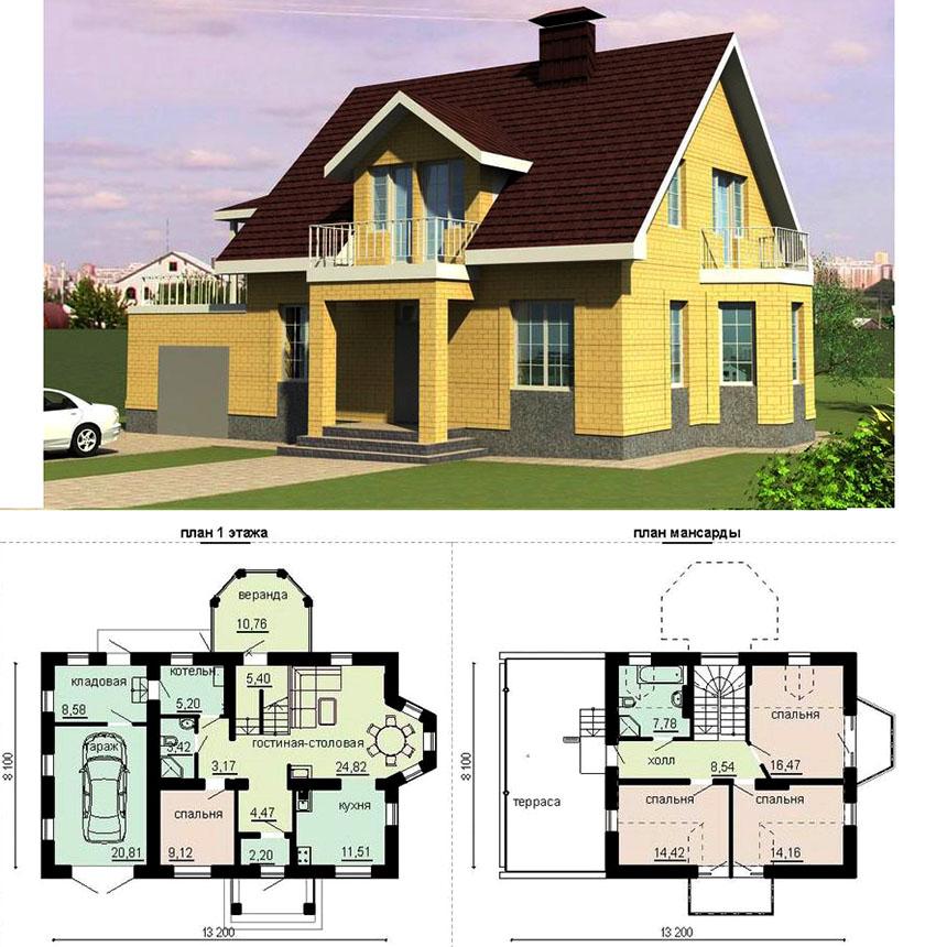 Проект дома из пеноблоков с облицовкой из декоративного кирпича