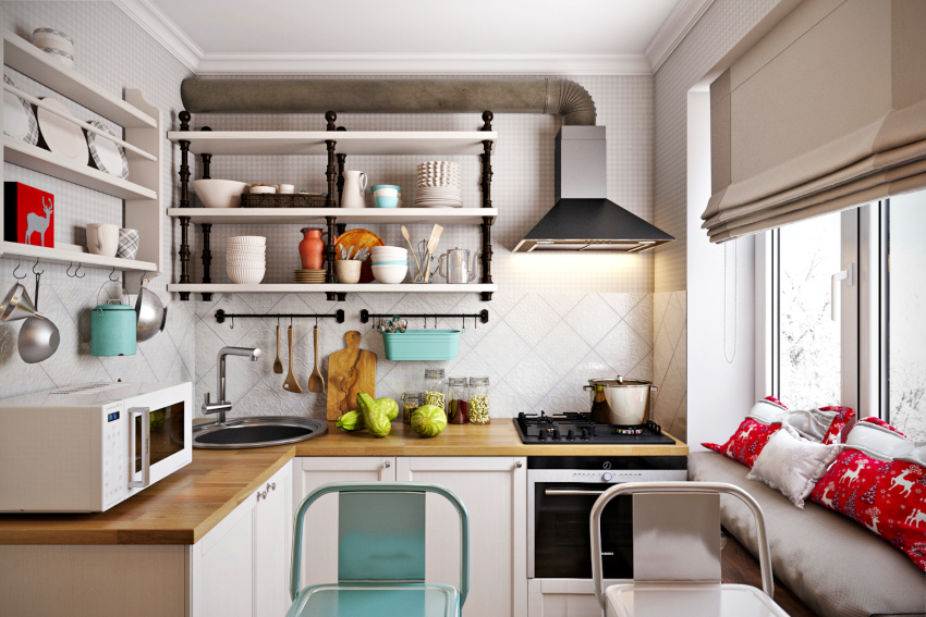 Плита, расположенная в углу, делает кухню уютной, создавая эффект присутствия камина