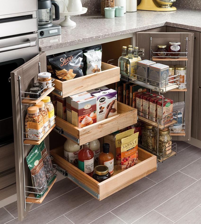 Выдвижными корзинами можно оборудовать труднодоступные и узкие пространства
