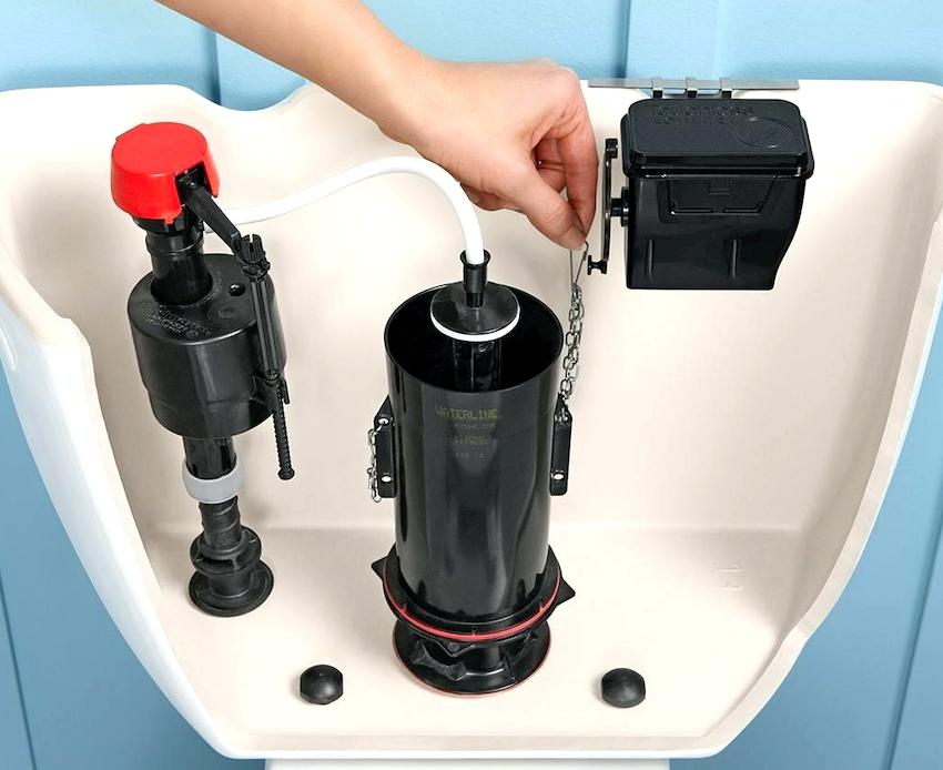 Арматура сливного бачка состоит из поплавкового механизма и системы слива
