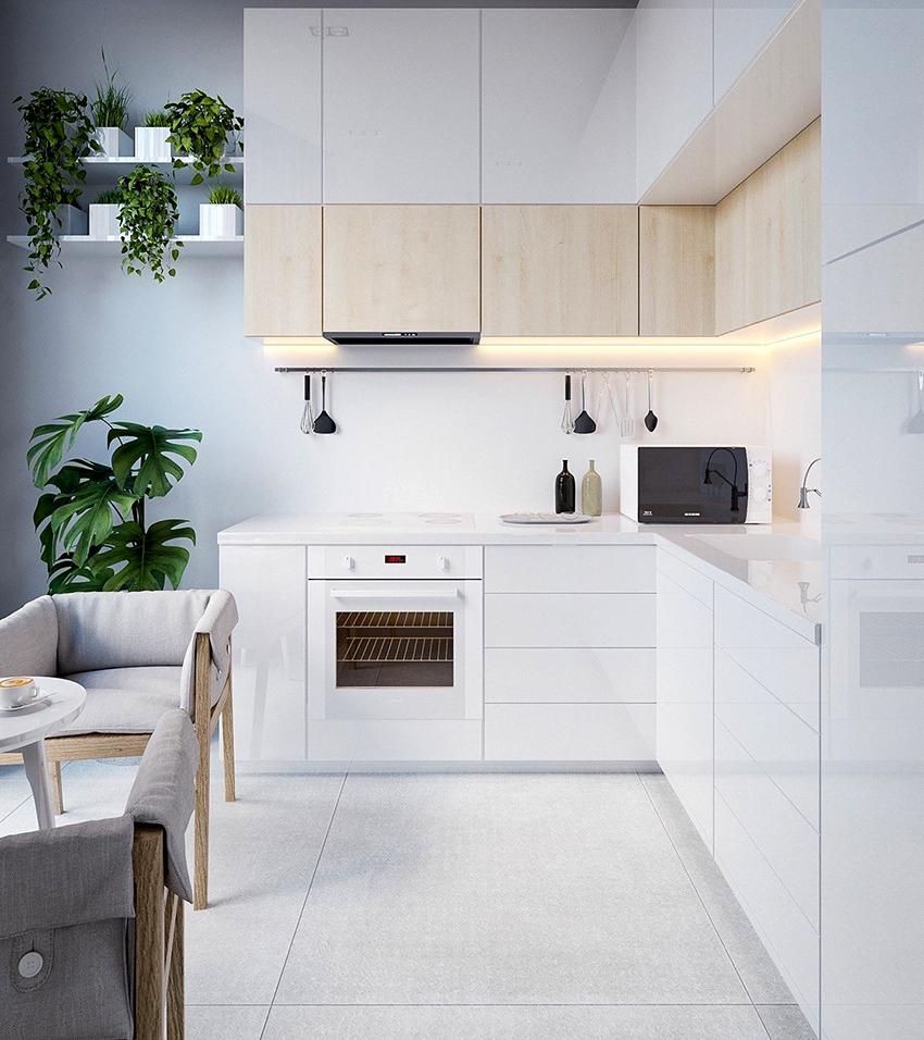 Все чаще в современном интерьере кухонь фартук отделывается с помощью панелей скинали