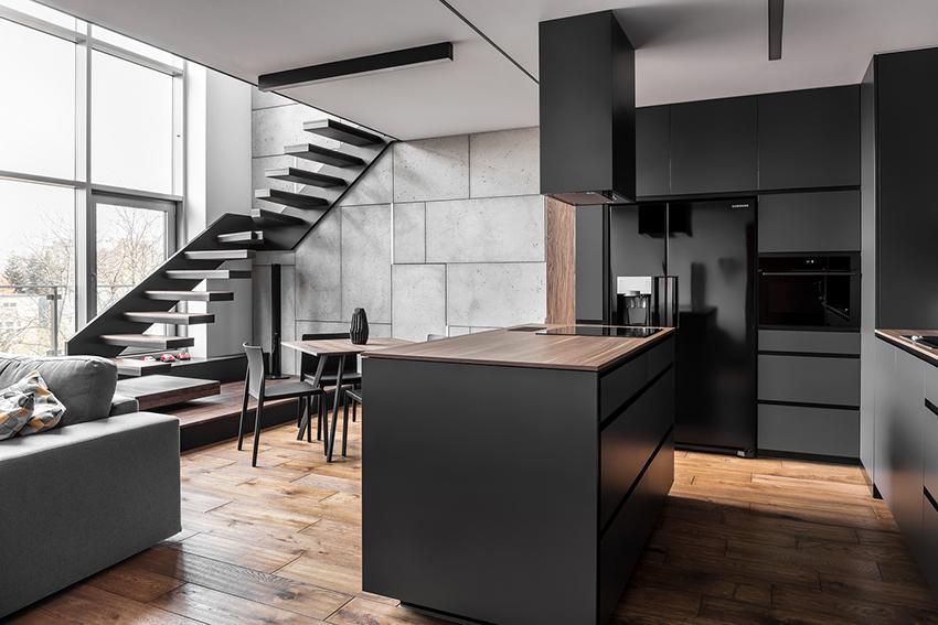 Кухня, выполненная в черном цвете будет выглядеть таинственно и благородно