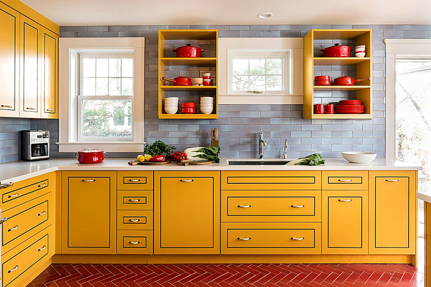 Использование не более трех цветов на одной кухне считается наиболее оптимальным решением