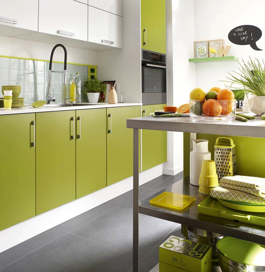 Фисташковый цвет сделает помещение кухни более воздушным, светлым и легким