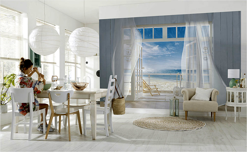 Фотообои с эффектом расширения пространства идеально подойдут для небольших кухонь