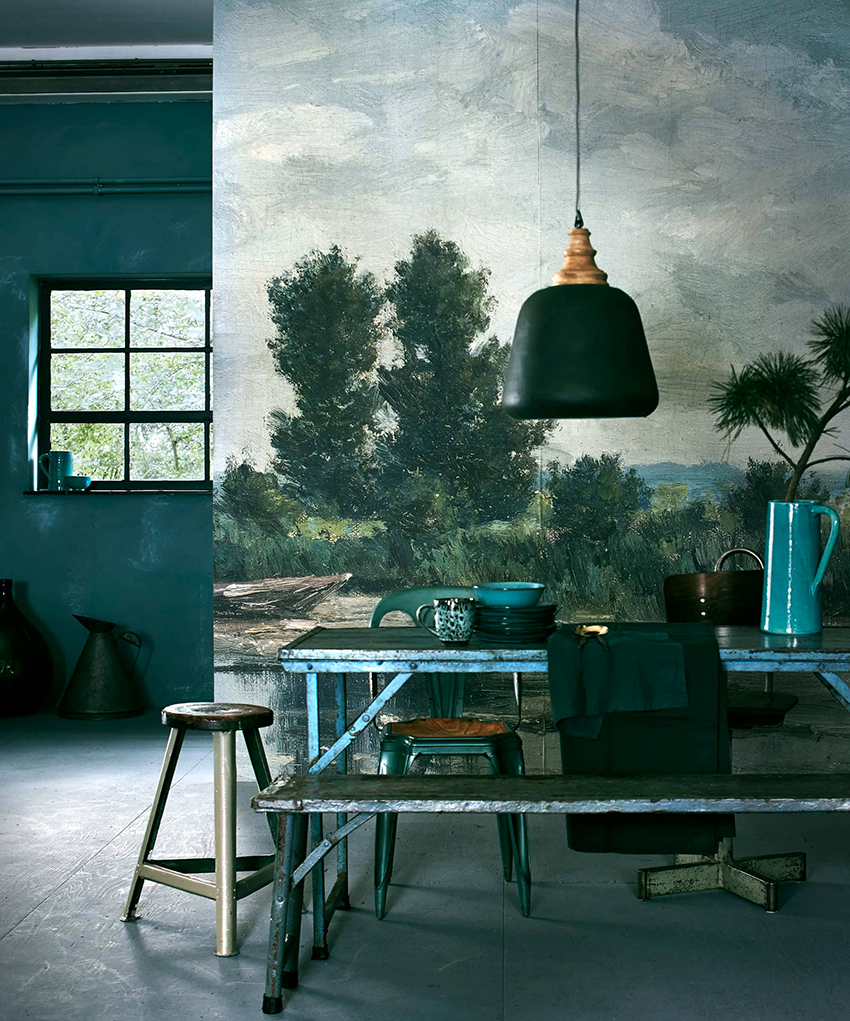 Живописные фотообои отлично впишутся в интерьер кухни в стиле кантри или прованс