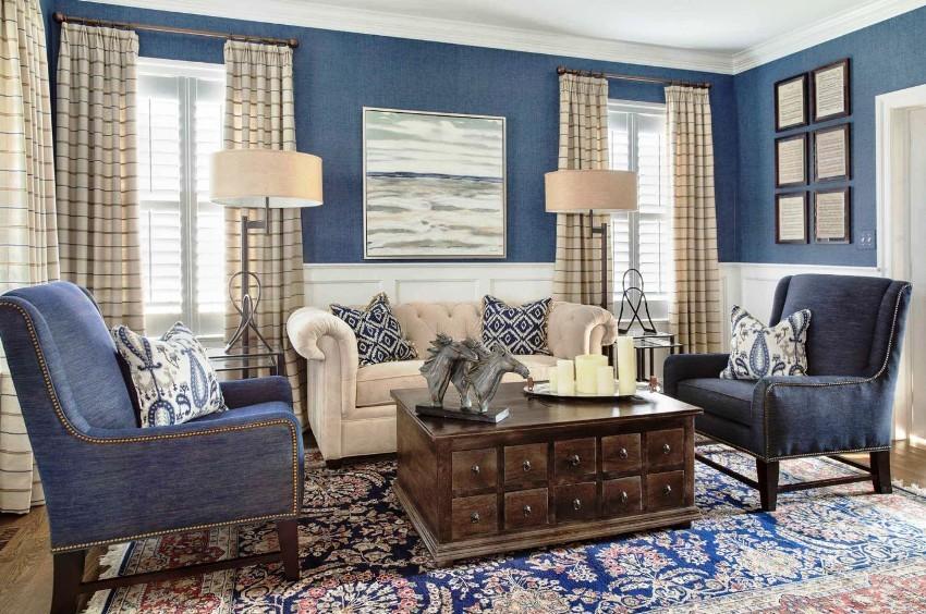 В классических интерьерах гостиных одна из главных особенностей - чётко выделенные функциональные зоны