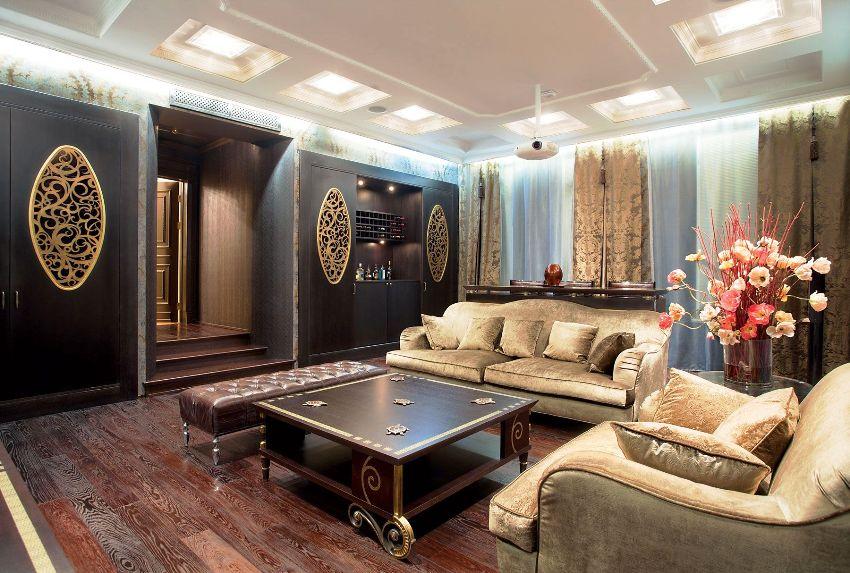 Обивка классической мебели не должна слишком отличаться от основной гаммы комнаты