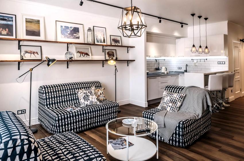 В кухню-гостиную в скандинавском стиле органично впишется барная стойка или стол-трансформер