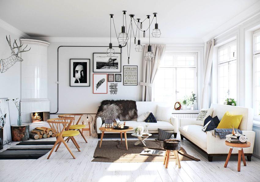 Главным элементом мебели в гостиной является диван, который исполняет роль акцентного пятна в интерьере