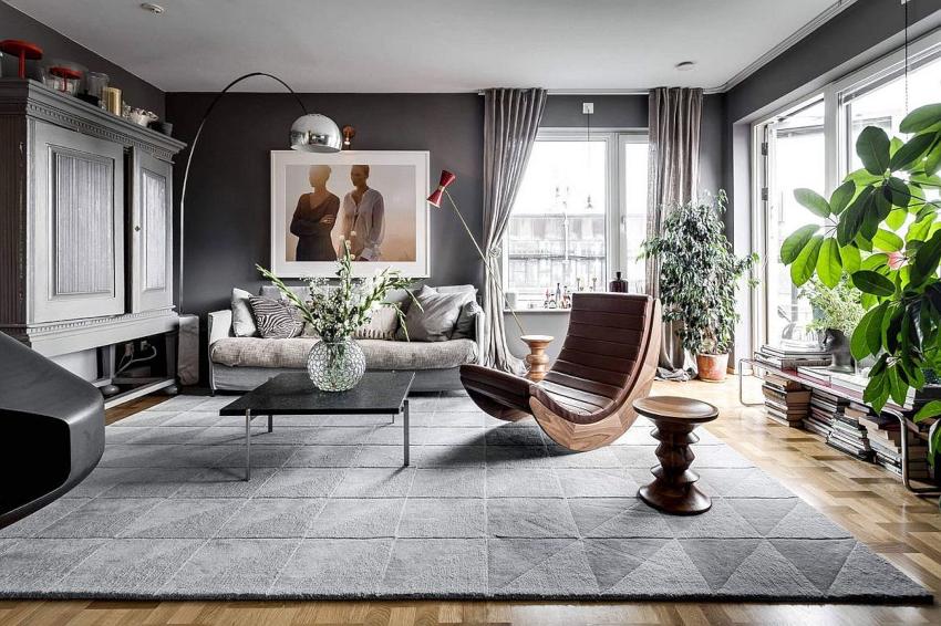 Выразительно и празднично выглядит серый цвет в интерьере гостиной