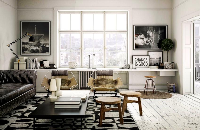 Наиболее гармоничный фон для мебели и декора можно создать при оформлении стен, окон и дверей в одном цвете