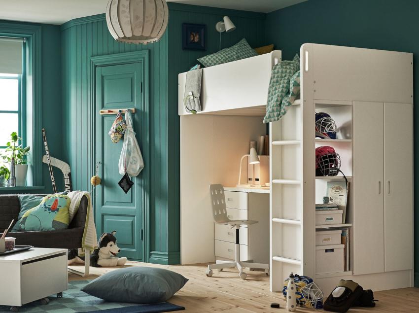 Современный дизайн интерьера детской комнаты предполагает использование строгих и лаконичных форм