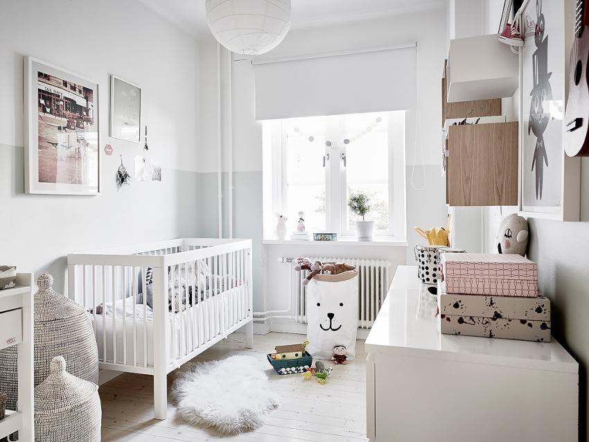 Для комнат малышей подходят классическое направление, скандинавский стиль или кантри