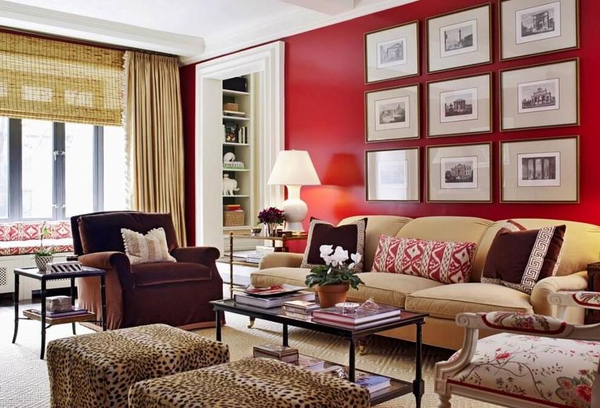 Красный цвет отделки на стенах может оказывать и негативное влияние на нервную систему человека