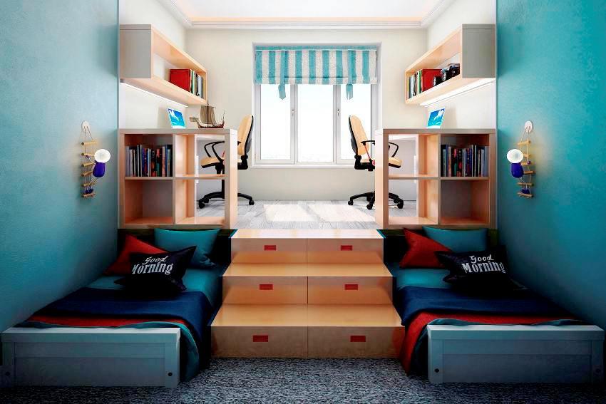 Если не позволяет площадь комнаты, выдвижные кровати лучше задвинуть в нишу