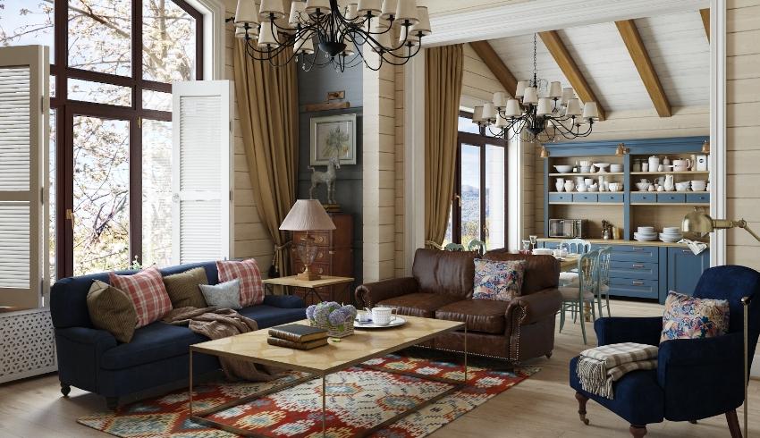 Чтобы гостиная была наполнена уютом, нужно мягкие ковры и невысокие кресла сочетать с красивыми светильниками в классическом стиле