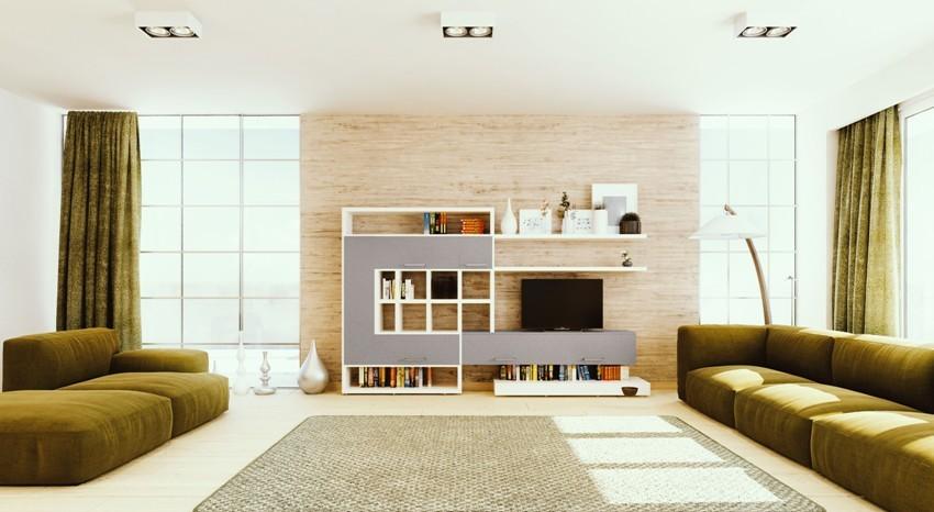 Чтобы изготовить стенку в стиле хай-тек, лучше использовать разнообразные материалы