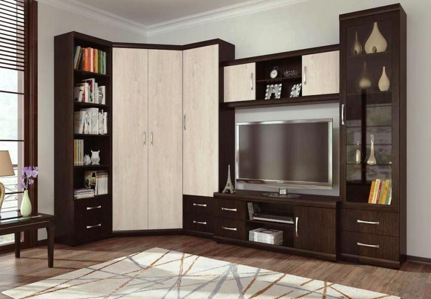 Угловые стенки-горки относятся к модульной мебели и изготавливаются под заказ в любом стиле и цветовом решении