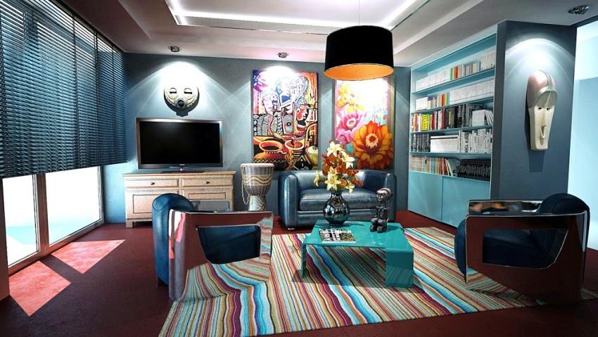 Для гостиной, в которой регулярно будут проходить веселые застолья, больше подойдут яркие цвета, пробуждающие энергию и повышающие настроение