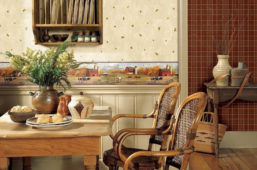 При оформлении кухни многие отдают предпочтение сельским направлениям, таким как американский кантри и французский прованс