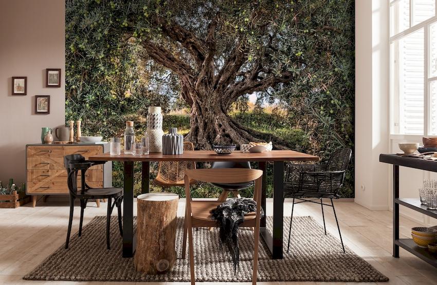 Оригинально и стильно на кухне смотрятся фотообои и 3D-варианты с пейзажным или ландшафтным изображением