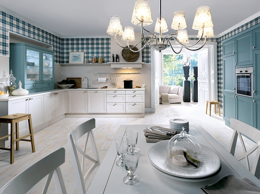 Для отделки стен кухни рекомендуются виниловые, флизелиновые покрытия, стеклообои и жидкие обои