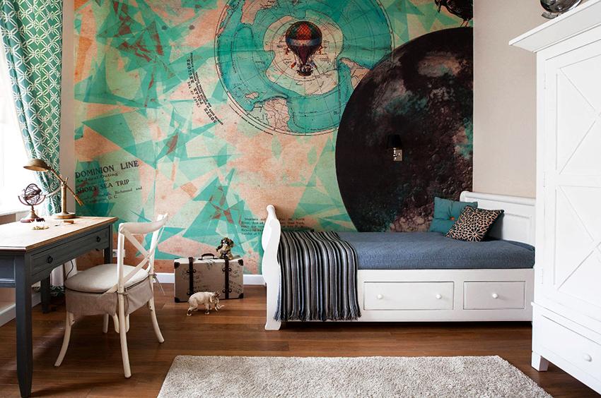 Нестандартные обои создадут яркую и вдохновляющую обстановку в комнате
